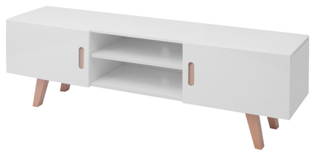 vidaXL MDF High Gloss TV Stand, White, 150x46.5x48.5 cm