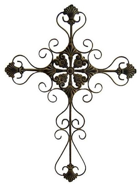Small Metal Wall Art tall metal cross scroll design in rustic, small - mediterranean