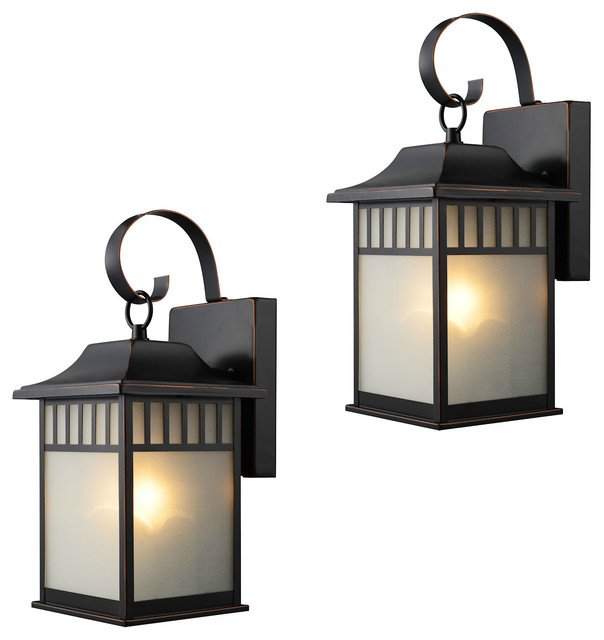 Exterior Light Fixtures, Set of 2, Oil Rubbed Bronze - Craftsman ...