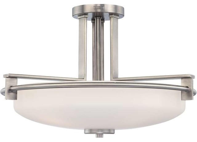 Quoizel Lighting Ty1721an Taylor Semi-Flush Mount Light In Antique Nickel.