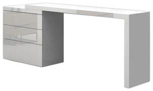 Nest Extendable Office Desk, High Gloss White Lacquer