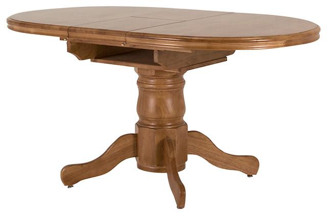 Rubberwood toledo extendable dining table traditional for Traditional dining table uk