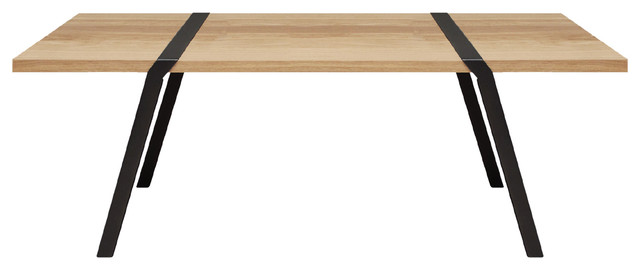 6-Seater Solid Oak Dining Table, Black