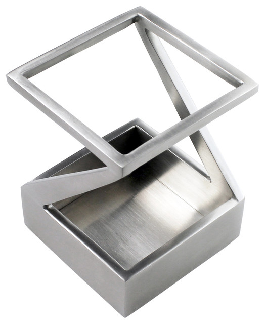 Pen and Pencil Holder Stainless Steel Satin Finish Modern