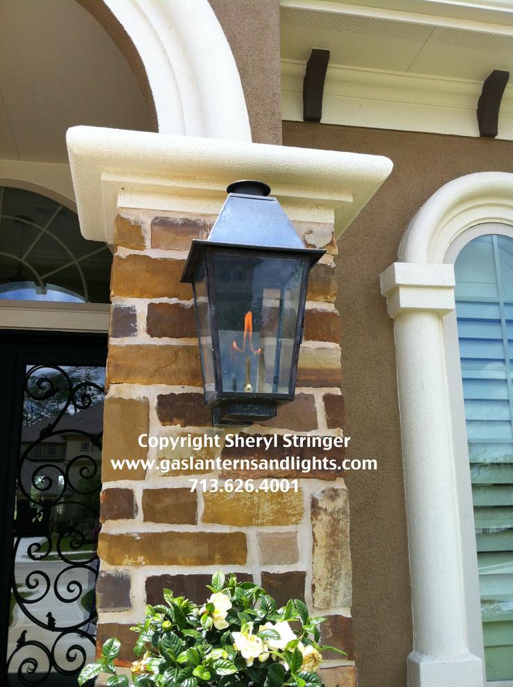 Sheryl's Plantation Style Gas Lantern with Dark Patina Finish
