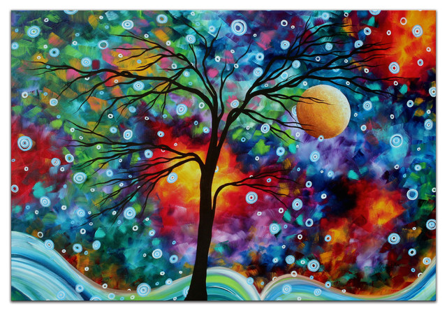 A Moment In Time Whimsical Multicolor Tree Landscape Painting Giclee On Metal Contemporary