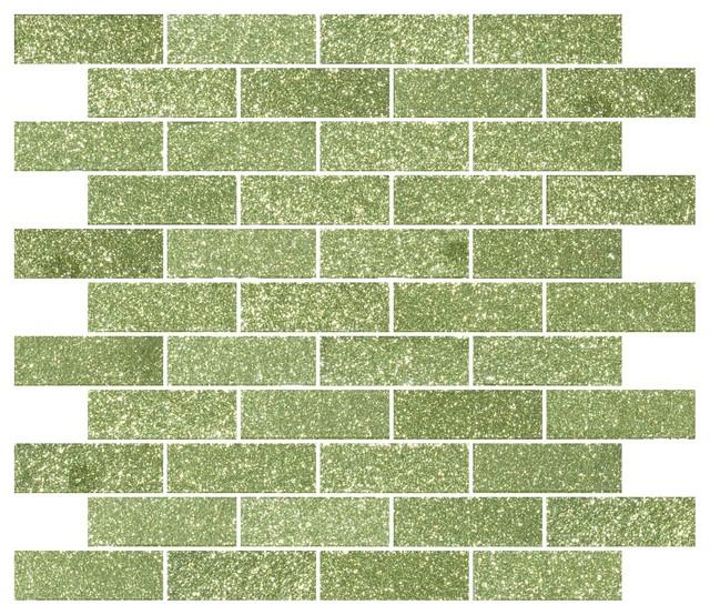 12 X12 Light Lime Green Glitter Gl Subway Tile Full Sheet
