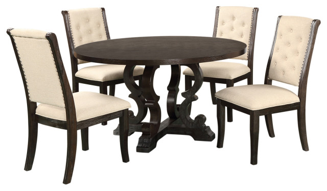 Dark Brown Rustic Dining Collection 5 Piece Round Dining Set Traditional Dining Sets By Best Master Furniture