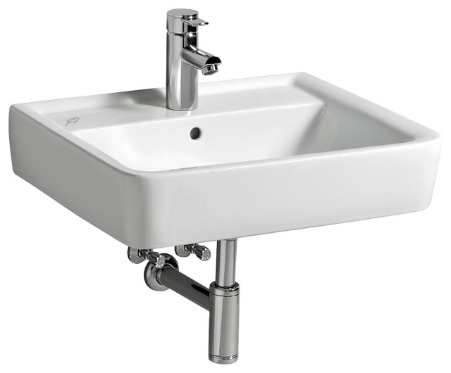 Renova 22 Wall Mounted Bathroom Ceramic Sink With Overflow.