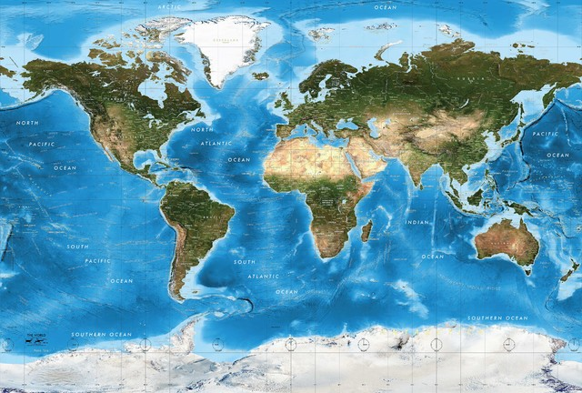 Sattelite Map Of World.World Satellite Map Mural Blue Oceans Peel And Stick 8 Panel 166