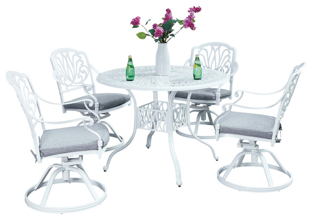 Floral Blossom Outdoor 5 Piece Dining Set With 4 Swivel Chairs, White, 42