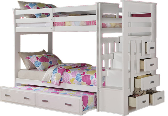 Shop houzz adarn inc kids bed white finish twin bunk bed storage ladder 5 drawers trundle - Kids twin beds with storage drawers ...