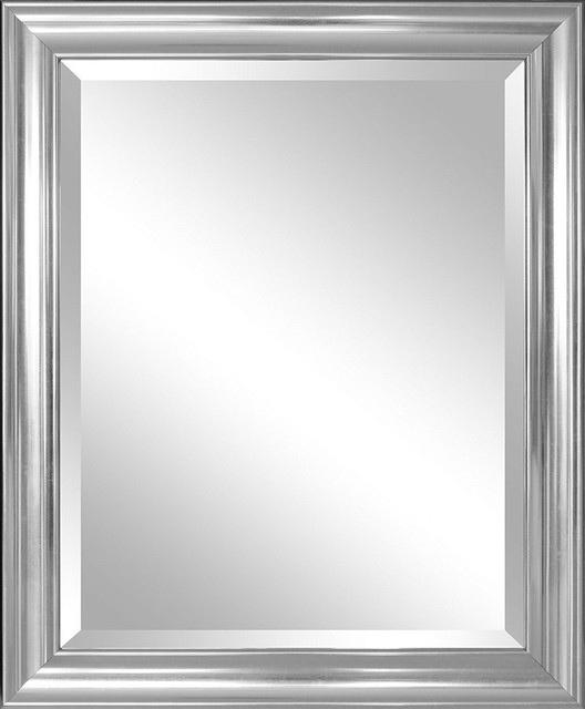 Bathroom mirror with silver frame hangs vertically or horizontally traditional bathroom for Silver framed bathroom mirrors