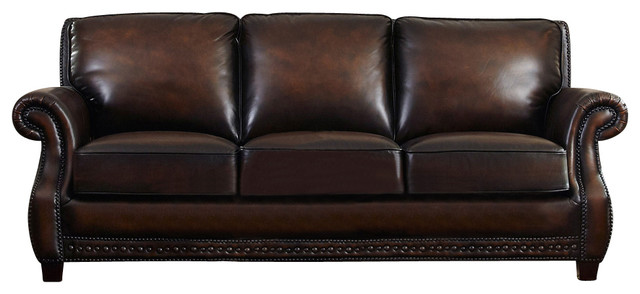 Luke Hand-Antiqued Leather Sofa - Traditional - Sofas - by ...