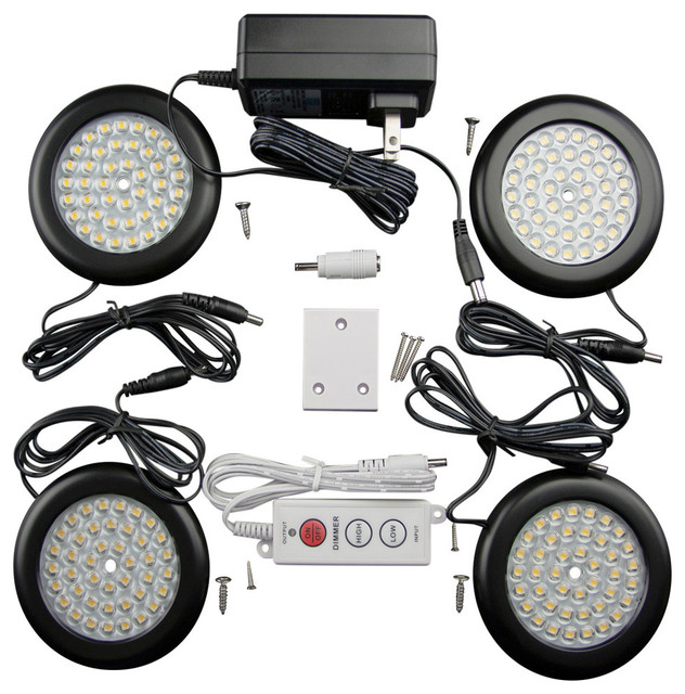 Premium LED Puck Light Black Body Kit - Contemporary - Undercabinet Lighting - by Solid Apollo LED