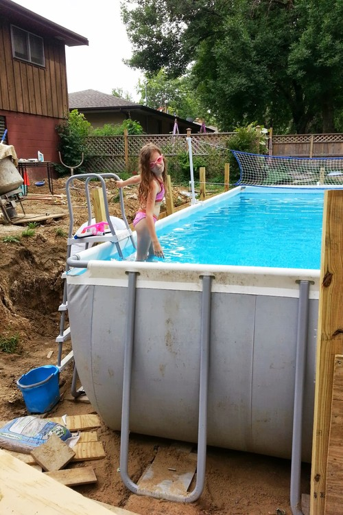 above ground pool with deck surround. Deck Surround/overlay Above Ground Pool. Rebecca Knight August 9, 2013. Sunk 4.5 Feet With Retaining Walls To Hold Back Dirt. Pool Surround
