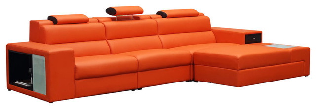 Soflex Dallas Mini Contemporary Orange Faux Leather Sectional Sofa Right  Chaise