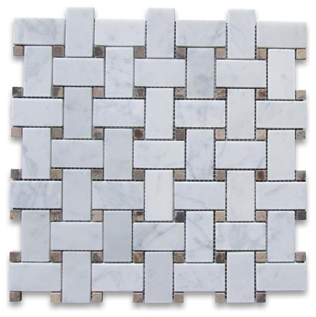 X Carrara White Basketweave Mosaic Emperador Dark Dots Honed - Carrara basketweave tile gray dot