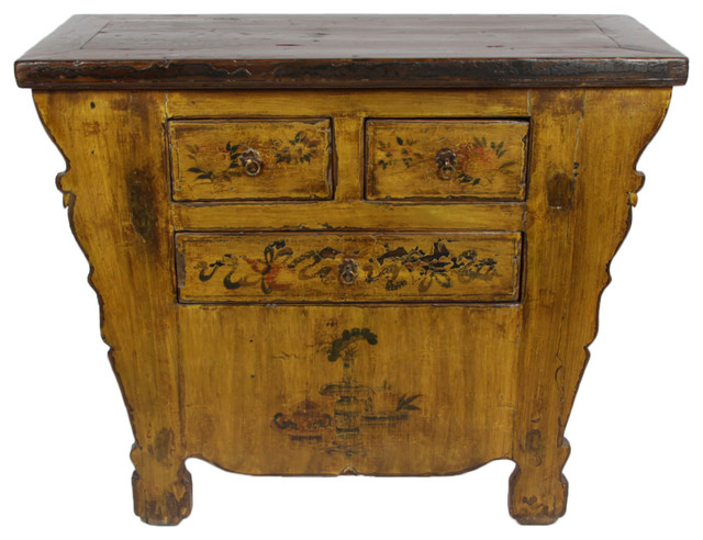 Consigned, Small Antique Gansu Cabinet - Consigned, Small Antique Gansu Cabinet - Asian - Accent Chests And
