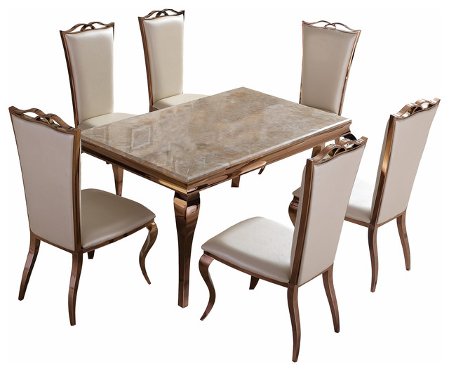 0daf765fdf1e Julia Rose Gold Dining Set - Transitional - Dining Table Sets - by  Chicmyroom