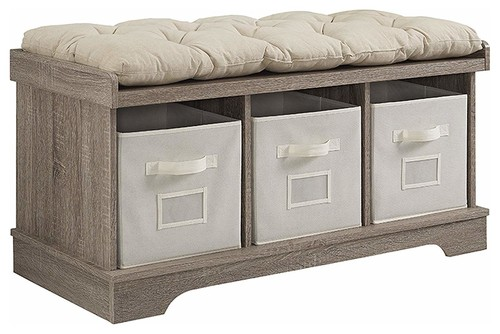 Contemporary Bench, MDF, Thick Cotton Cushioned Seat, Driftwood