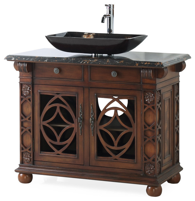 42 Vigo Vessel Sink Cherry Bathroom Vanity Traditional Bathroom