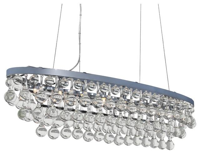Celeste 8-Light Oval Glass Drop Chandelier, Chrome