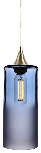 Atmospheric Pendant Light No. 515, Steel Blue, Brushed Nickel Hardware.