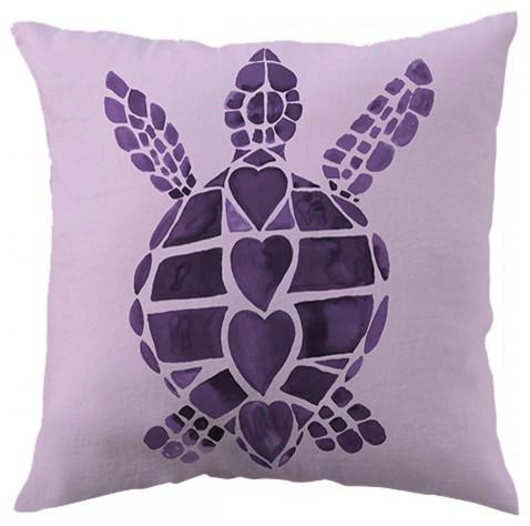 Charming Turtle Love Purple Throw Pillow Beach Style Decorative Pillows