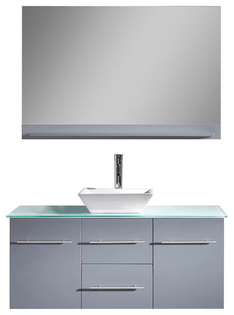 Arisa Gray Oak Single Bathroom Vanity, Glass Countertop, Chrome Faucet, 48.