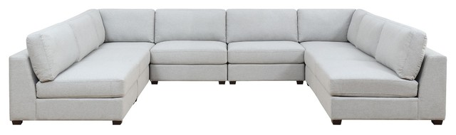 Reed 8-Piece Modular Reconfigurable Deep Seating Sofa Sectional.