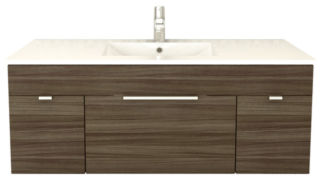 Borges Floating Bathroom Vanity, Driftwood, 48""