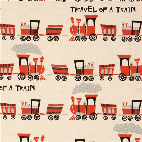 ecru train Canvas fabric by Kokka