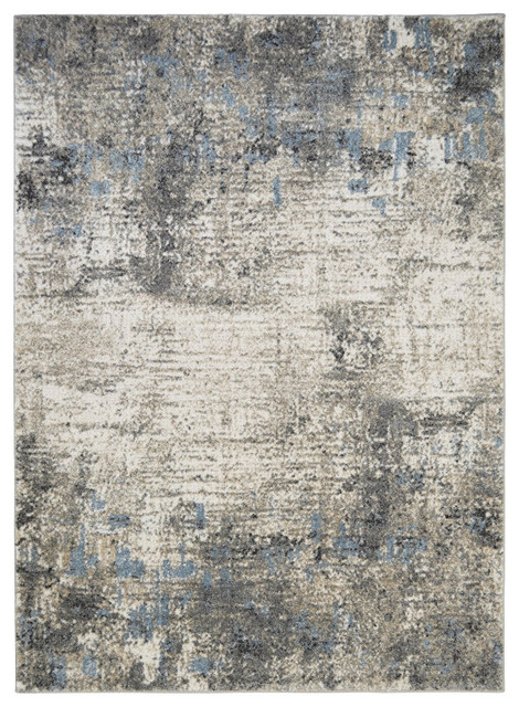 Modern Accent Rug In Silver With