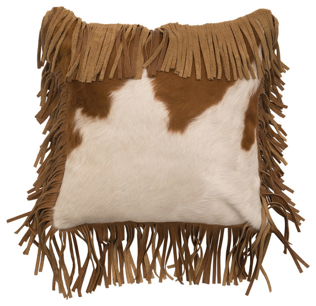 Decorative Pillows With Fringe Part - 25: Brown/White Leather Hair On Hide Fringe Pillow, 16x16 Decorative-pillows