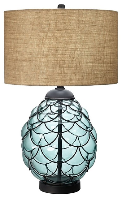 Pacific Glass Table Lamp, Blue Transitional Table Lamps