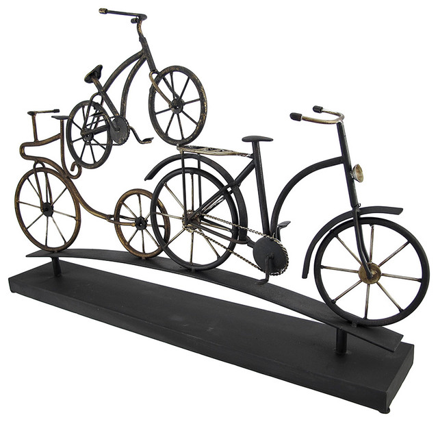 Stacked Metal Bicycles Art Sculpture Tabletop Decor  Traditional Decorative Objects And Figurines