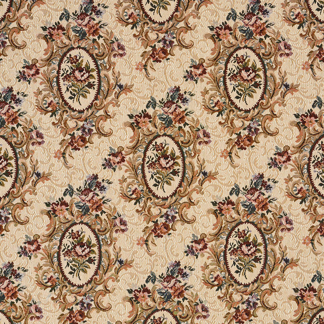 Burgundy Beige And Green Floral Bouquet Tapestry Upholstery Fabric By The Yard