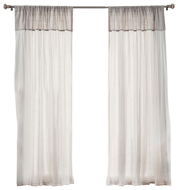 Best Home Fashion Faux Pippin Linen Sheer Tulle Overlay