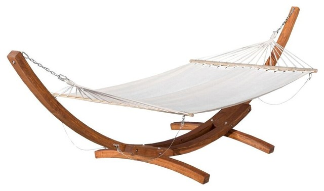 Wonderful GDFStudio   Weston Outdoor Hammock With Wooden Base, Cream   Hammocks And  Swing Chairs