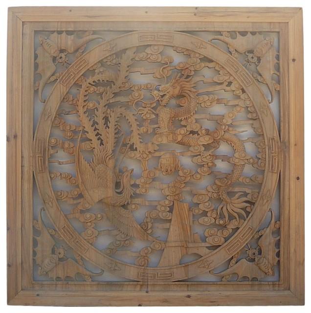 Asian Wall Decor chinese square phoenix dragon wood wall decor panel - asian - wall