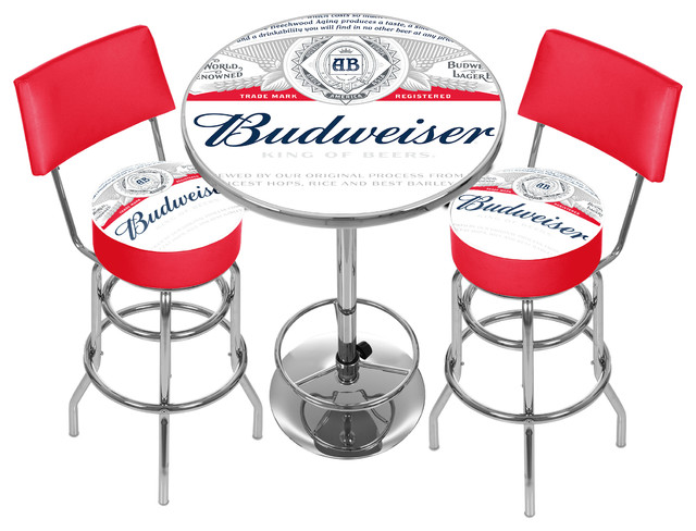 Budweiser Label Game Room Combo 2 Stools With Back And