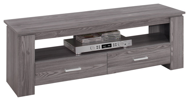 Tv Stand With 2 Storage Drawers, Gray.