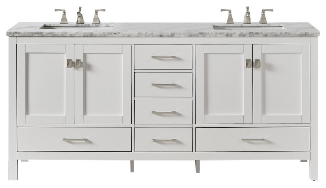Eviva Aberdeen 60 White Transitional Double Sink Bathroom Vanity White Carrara Transitional Bathroom Vanities And Sink Consoles By Homesquare