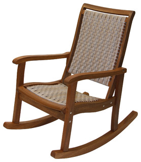 ... Resin Wicker and Eucalyptus Rocker Chair - Outdoor Rocking Chairs