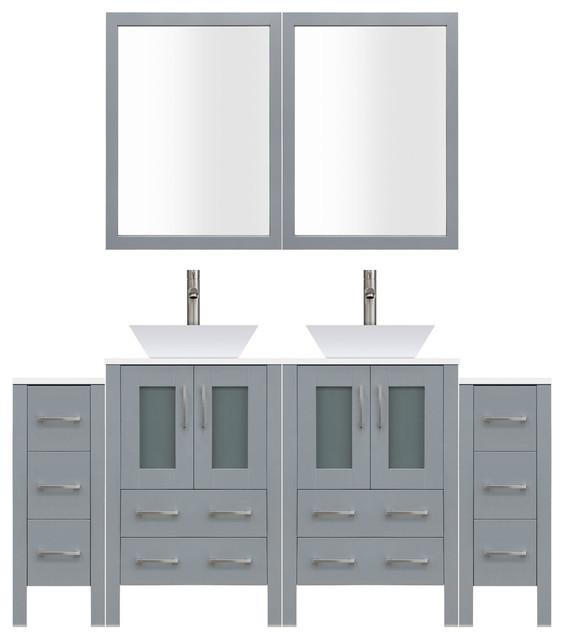 "84"" Modern Bathroom Vanity Set, Mirror and Sink LV2-C17-84-G, Gray"