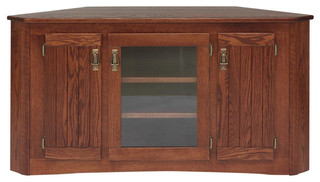 Solid Oak Mission Style Corner Tall TV Stand With Cabinet - Traditional - Entertainment Centers ...