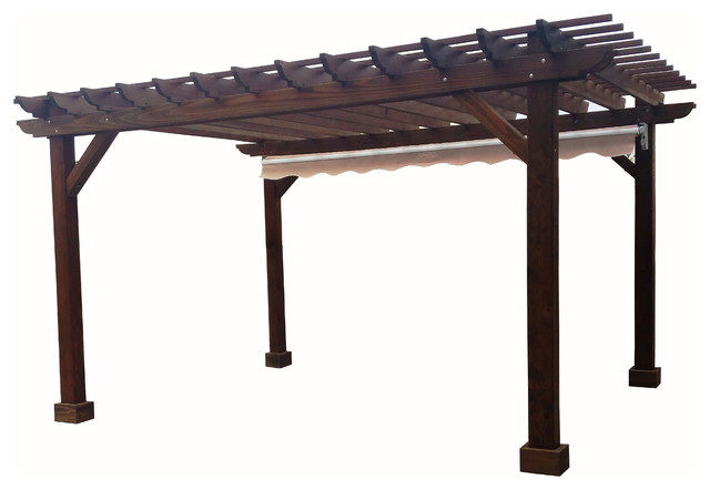 Deck Pergola With 8&x27; Post And 18 Roof Separation, Mahogany, 12x12.