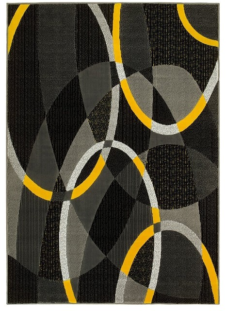 Hr Abstract Design Area Rug Oval Yellow Black Gray 5 0 X6 11