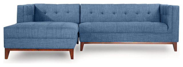 Harrison Midcentury Twil Sofa Chaise Sectional, Blue Curacao, Left Facing
